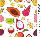 sketch colored exotic fruits... | Shutterstock .eps vector #619586069