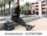 beautiful stylish woman hanging ... | Shutterstock . vector #619587680