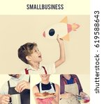 collage of small business... | Shutterstock . vector #619588643