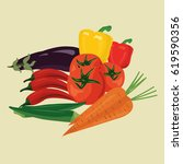 vector drawing vegetables fully ... | Shutterstock .eps vector #619590356