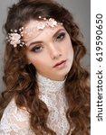 a portrait of elegant girl is...   Shutterstock . vector #619590650
