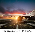 detail of commercial airplane... | Shutterstock . vector #619596836