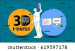 3d printing arms and clothes... | Shutterstock .eps vector #619597178