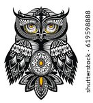 vector tattoo owl  | Shutterstock .eps vector #619598888