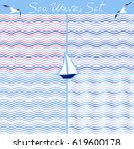 set of seamless sea waves... | Shutterstock .eps vector #619600178