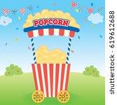 illustration vector of popcorn... | Shutterstock .eps vector #619612688