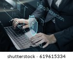 data security system shield... | Shutterstock . vector #619615334