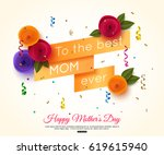 happy mothers day greeting card ... | Shutterstock .eps vector #619615940