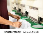 closeup of a woman placing... | Shutterstock . vector #619616918
