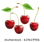 delicious red cherry... | Shutterstock . vector #619619906