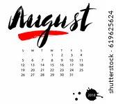 vector calendar for august 2018.... | Shutterstock .eps vector #619625624