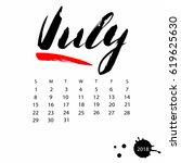 vector calendar for july 2018.... | Shutterstock .eps vector #619625630