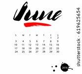 vector calendar for june 2018.... | Shutterstock .eps vector #619625654