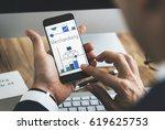 man working on digital device... | Shutterstock . vector #619625753