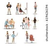 set cartoon barber character ... | Shutterstock .eps vector #619626194