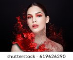 Red Paint Splash Over Beauty...