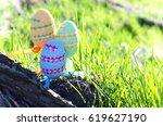 easter eggs on green grass on a ... | Shutterstock . vector #619627190