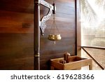 ayurveda spa treatment. copper... | Shutterstock . vector #619628366