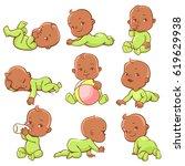 set with cute little african...   Shutterstock .eps vector #619629938