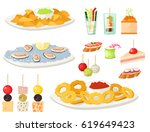 various meat canape snacks... | Shutterstock .eps vector #619649423