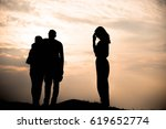 Small photo of Silhouette of couple love argue, argue concept