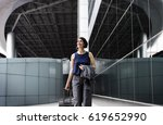 businesswoman traveler journey... | Shutterstock . vector #619652990