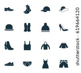 clothes icons set. collection... | Shutterstock .eps vector #619664120