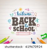 back to school vector drawing... | Shutterstock .eps vector #619670924