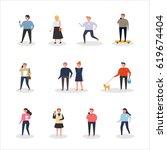 various people on street vector ... | Shutterstock .eps vector #619674404