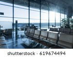 abstract blur in airport  with... | Shutterstock . vector #619674494