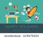 happy holiday  businessman... | Shutterstock .eps vector #619675424
