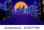 retro futuristic skyscraper... | Shutterstock . vector #619679780