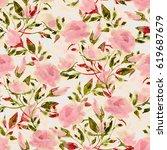 seamless pattern. watercolor... | Shutterstock . vector #619687679