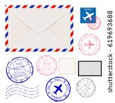 Airmail Envelope With Postmark...