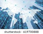double exposure global world... | Shutterstock . vector #619700888