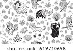 ink seamless pattern with... | Shutterstock .eps vector #619710698