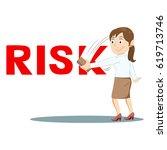 businesswoman erasing risk word ... | Shutterstock .eps vector #619713746