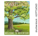 connecticut travel poster or... | Shutterstock .eps vector #619716563