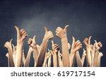 hands showing gestures . mixed... | Shutterstock . vector #619717154