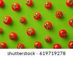 cherry tomato pattern on a... | Shutterstock . vector #619719278