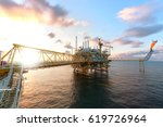 offshore oil  platform in... | Shutterstock . vector #619726964