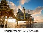 offshore oil  platform in... | Shutterstock . vector #619726988