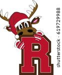 r is for reindeer alphabet... | Shutterstock .eps vector #619729988