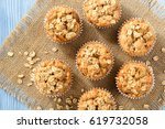 oat muffins with apples and...   Shutterstock . vector #619732058