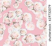 Roses Pattern Gently Pink Green - Fine Art prints