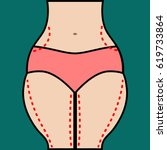 liposuction of hips and thighs. ... | Shutterstock .eps vector #619733864