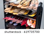 many woman shoes ant home | Shutterstock . vector #619735700