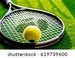 tennis racket on green... | Shutterstock . vector #619739600