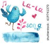 blue musical bird | Shutterstock . vector #619741370