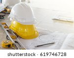 the safety helmet and the... | Shutterstock . vector #619746728